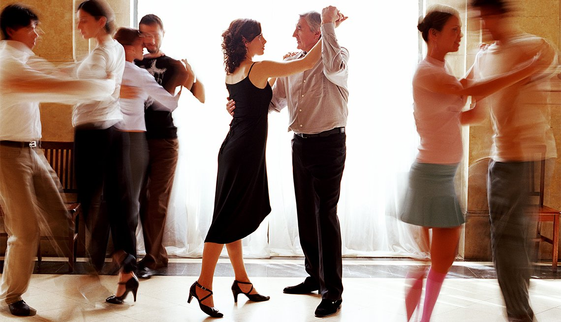 Couple learning to dance