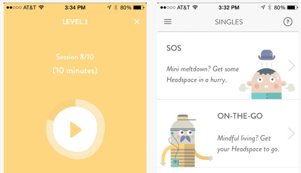 Toma de pantalla de la aplicación Headspace - Beneficios de la meditación
