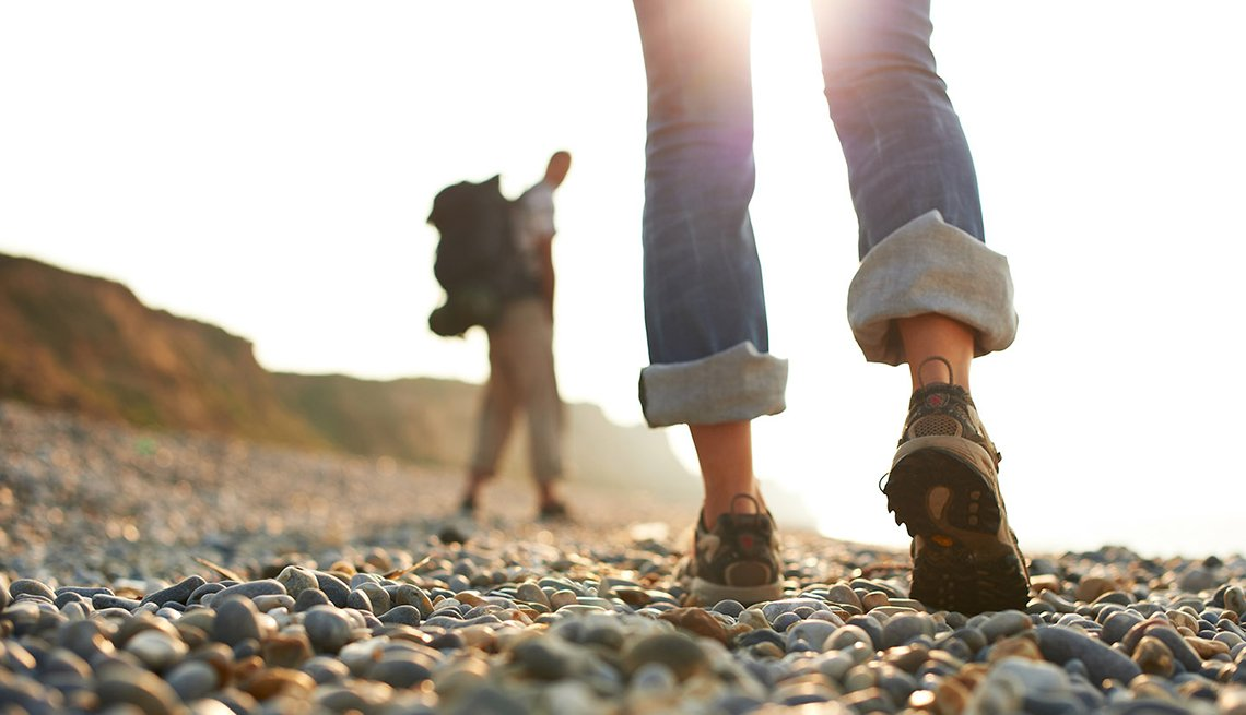 Two People Hiking along Rocky Path, Walk Your Way to a Better Life, Healthy Living