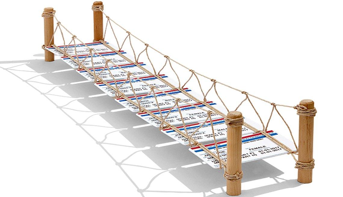 Puente hecho con tarjetas de Medicare