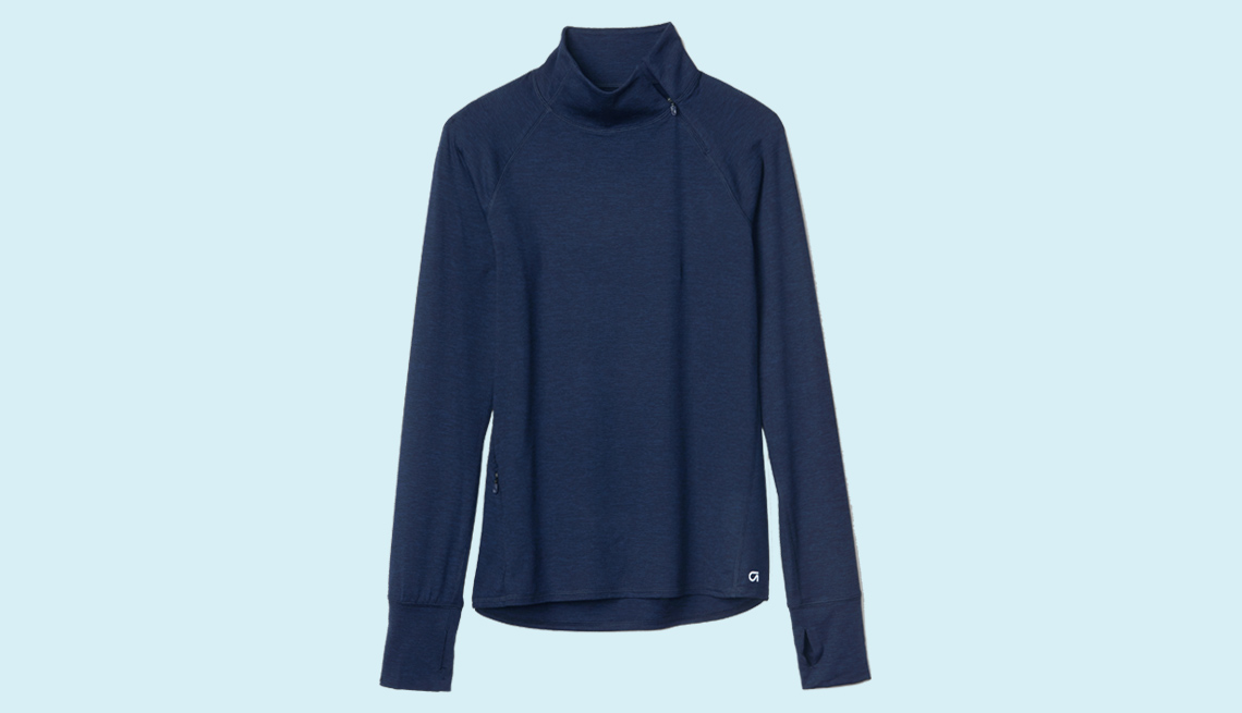 item 7 of Gallery image - GapFit brushed jersey asymmetrical half-zip pullover $59.95