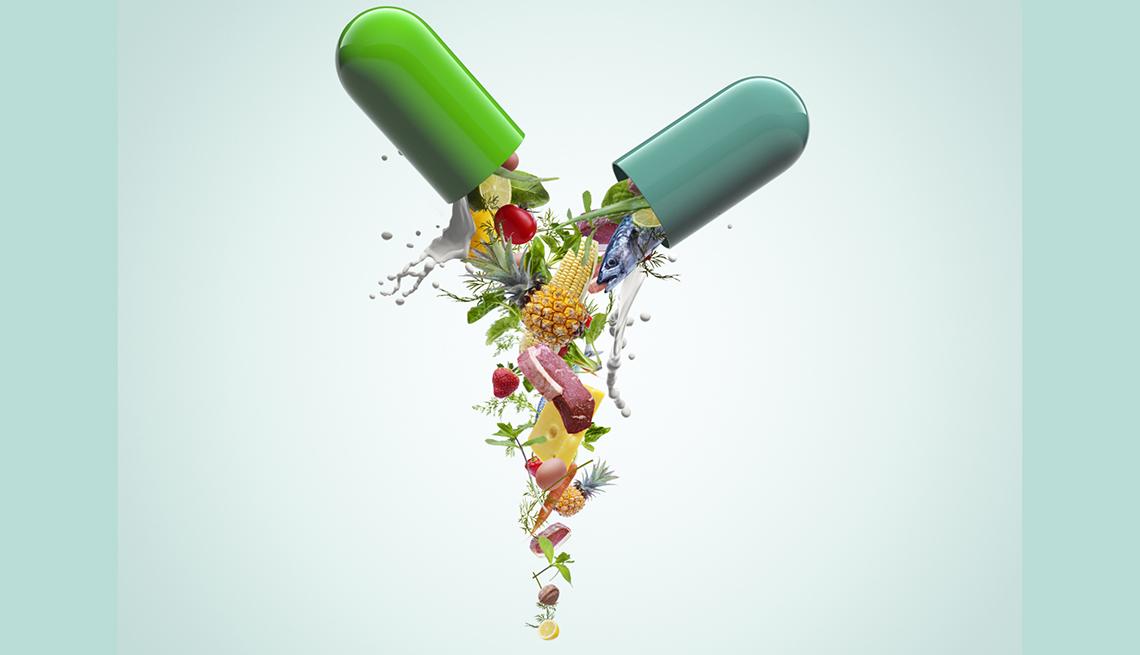Gráfico de píldora llena de frutas y vegetales