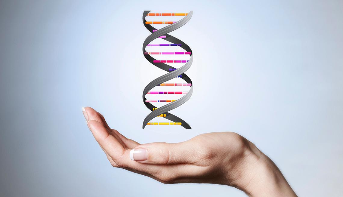 Gráfico del ADN sobre una mano