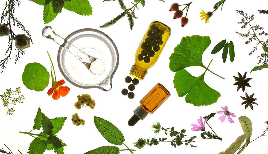 Diferentes hierbas y aceites