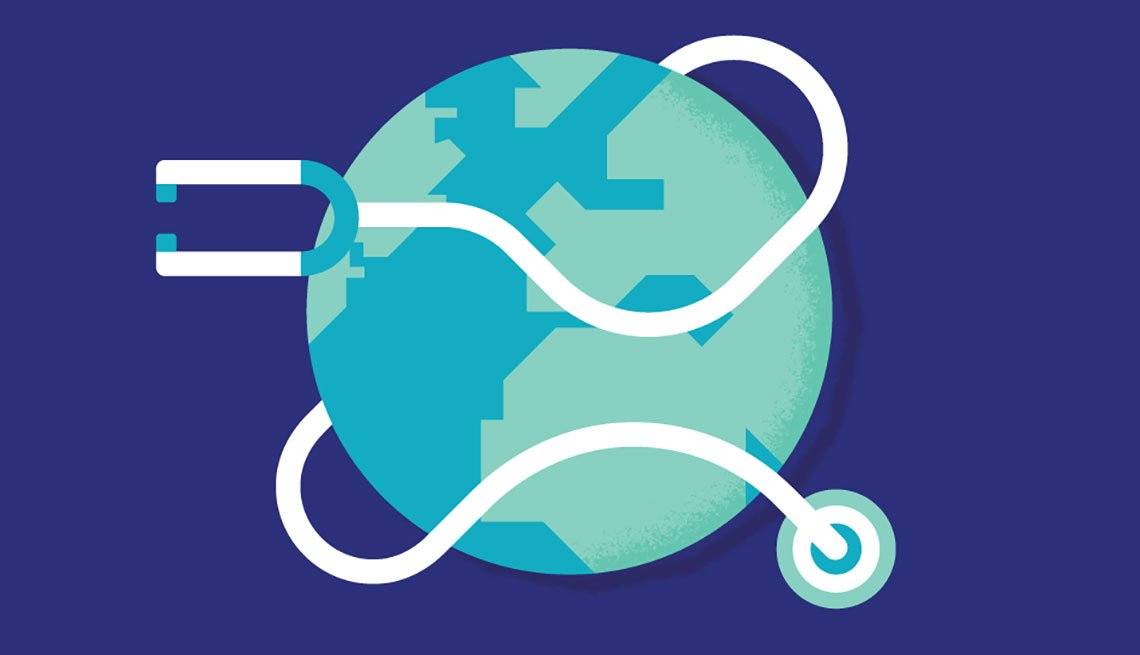 an Illustration of planet earth wrapped with stethoscope