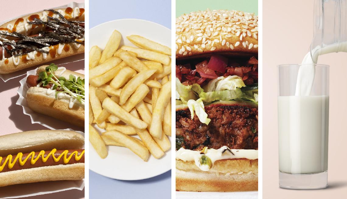 Hot dogs, papas fritas, hamburguesa y leche