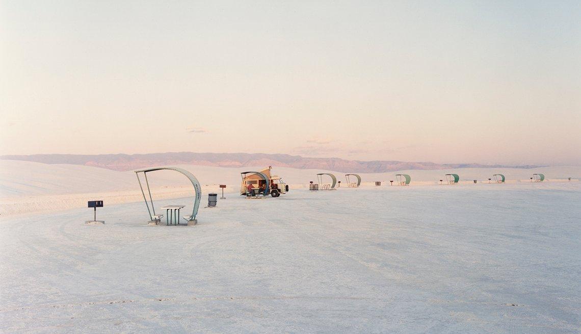 Zona de picnic en el parque nacional de White Sands National Monument, en Nuevo Mexico.