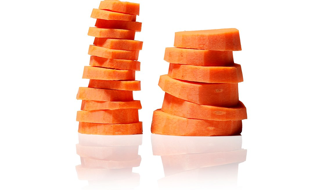 Rodajas de zanahorias organizadas en dos columnas.