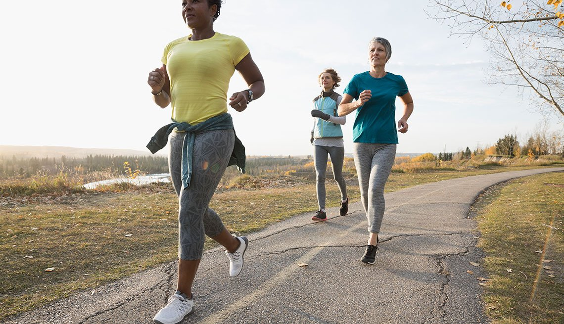 Mature women running