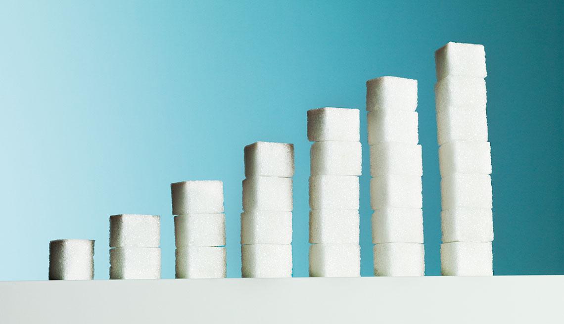 Cubos de azúcar colocados de forma ascendente