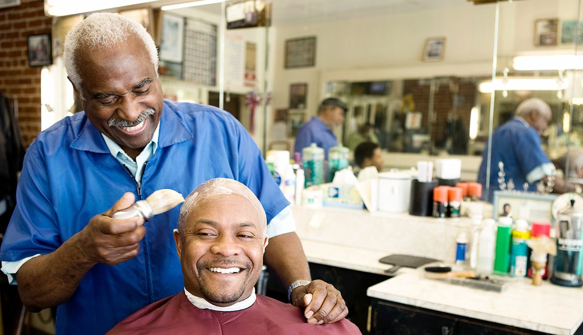 African american men in a barbershop