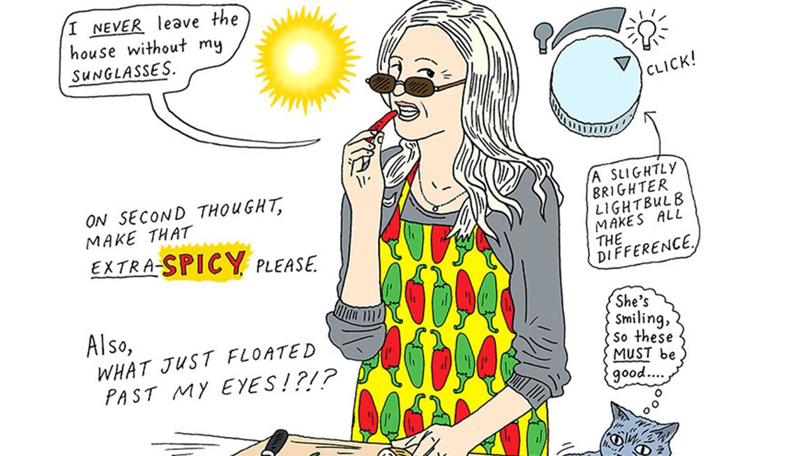 Illustration showing what to expect regarding your senses at your 50s