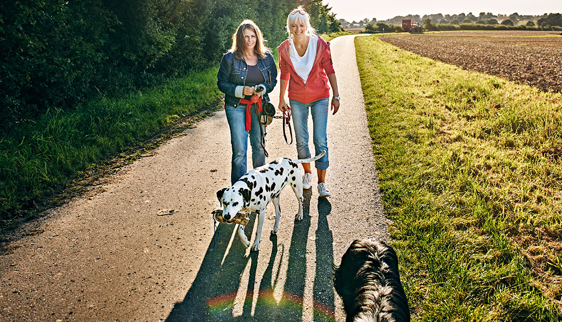 Two mature woman walking their dogs