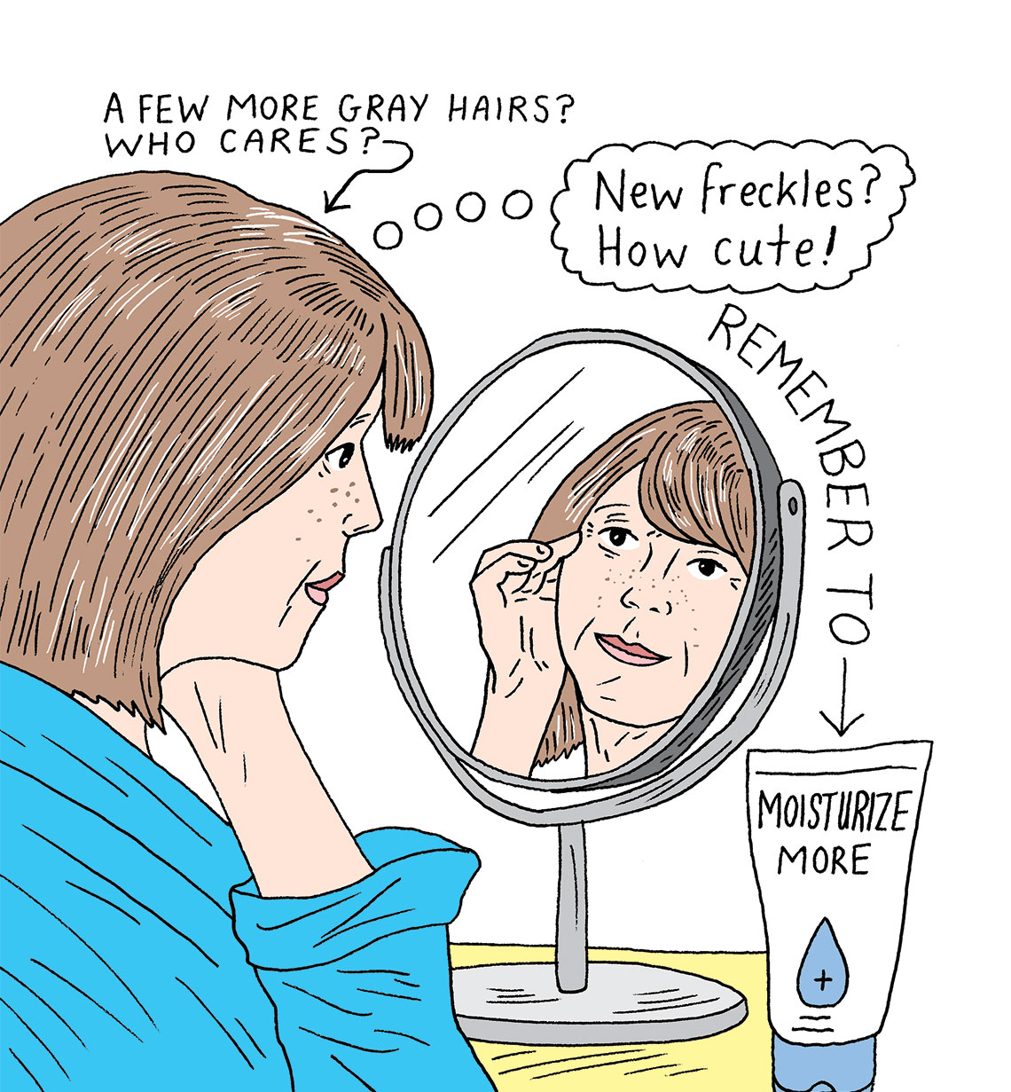 an illustration of a woman looking into the mirror
