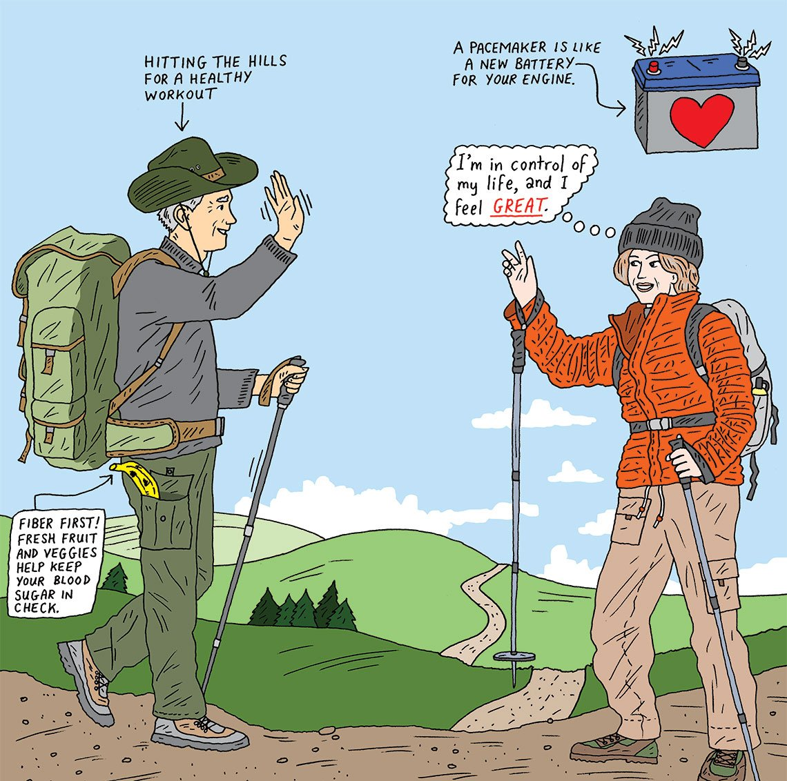 illustration of two mature adults hiking