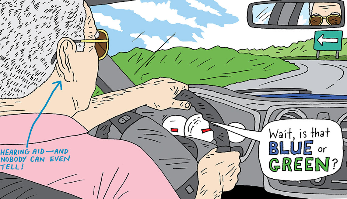 illustration of a man driving