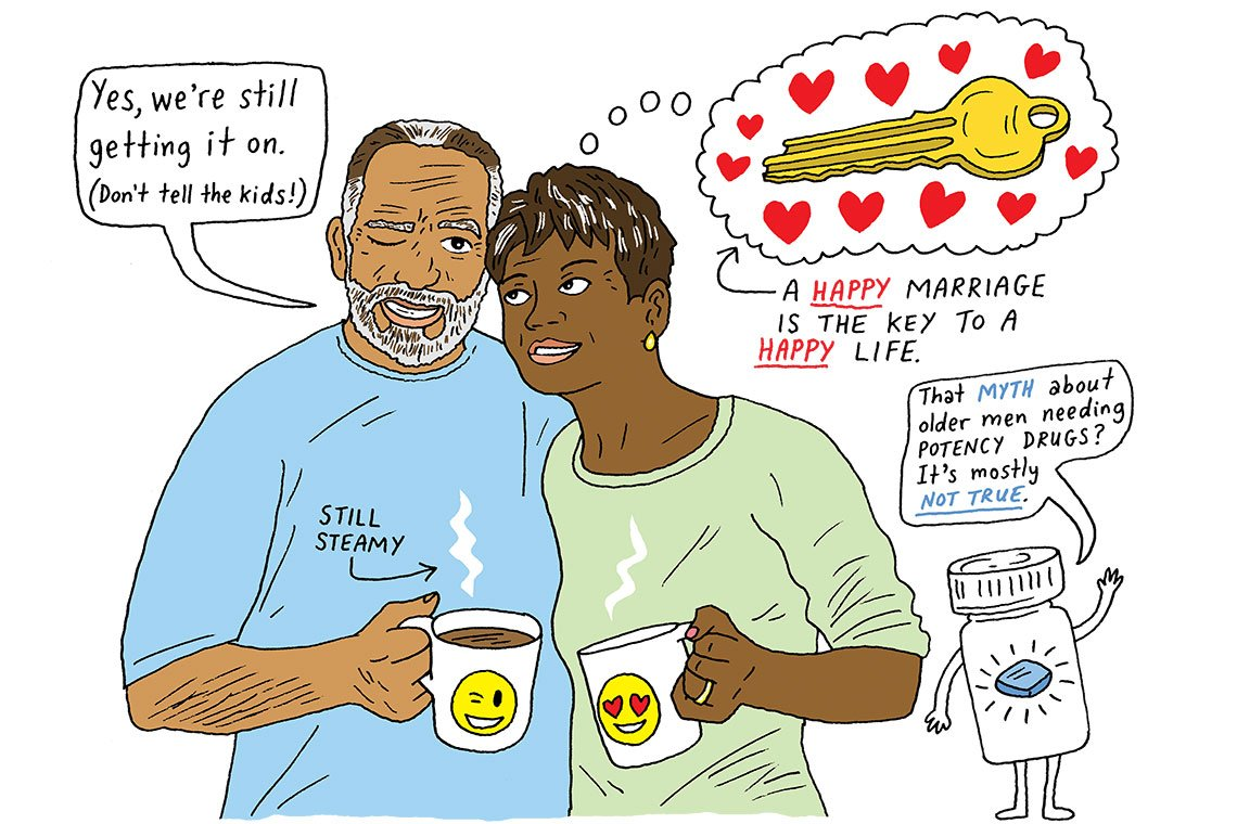 an illustration of a mature couple holding coffee mugs