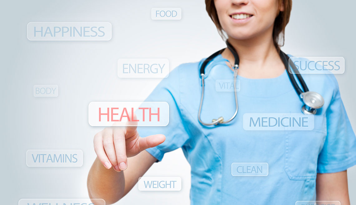 virtual health nurse clicking on health icon