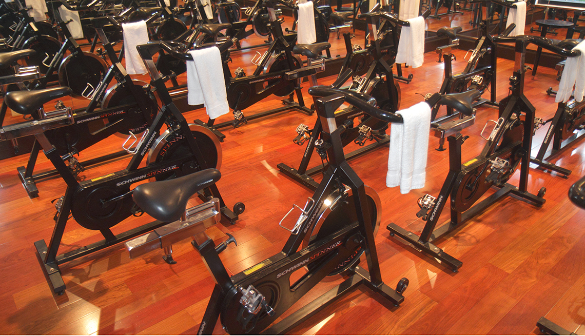 Unused stationary bikes in a workout room