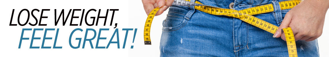 Lose Weight, Feel Great! Measuring tape tied around waist.