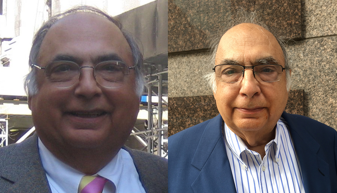 Side-by-side headshots of Donald Mazella before and after weight loss.