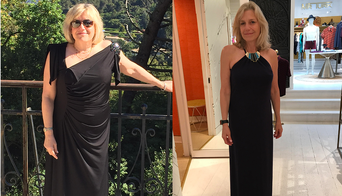 Side-by-side photos of Sherry Greenwald wearing black evening gowns before and after she lost weight.