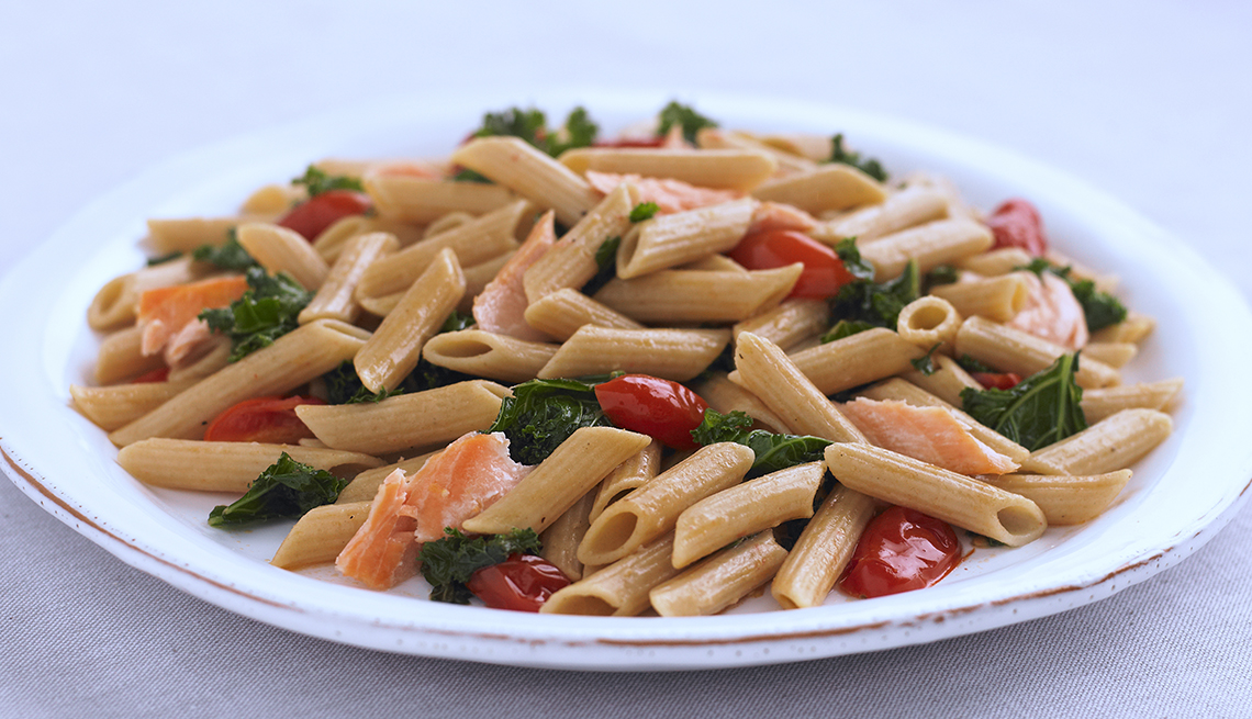 Whole Wheat Penne Salmon and Kale