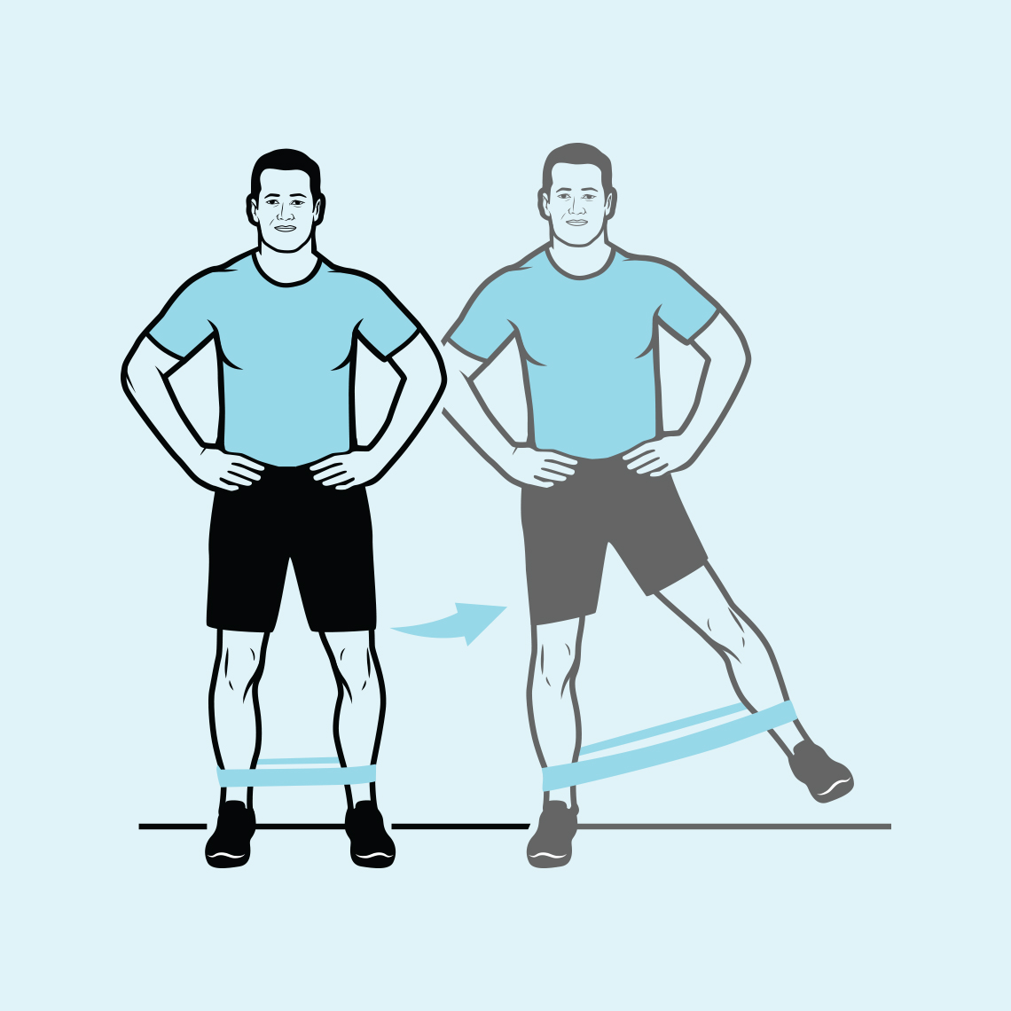 A man with a resistance band on his ankles