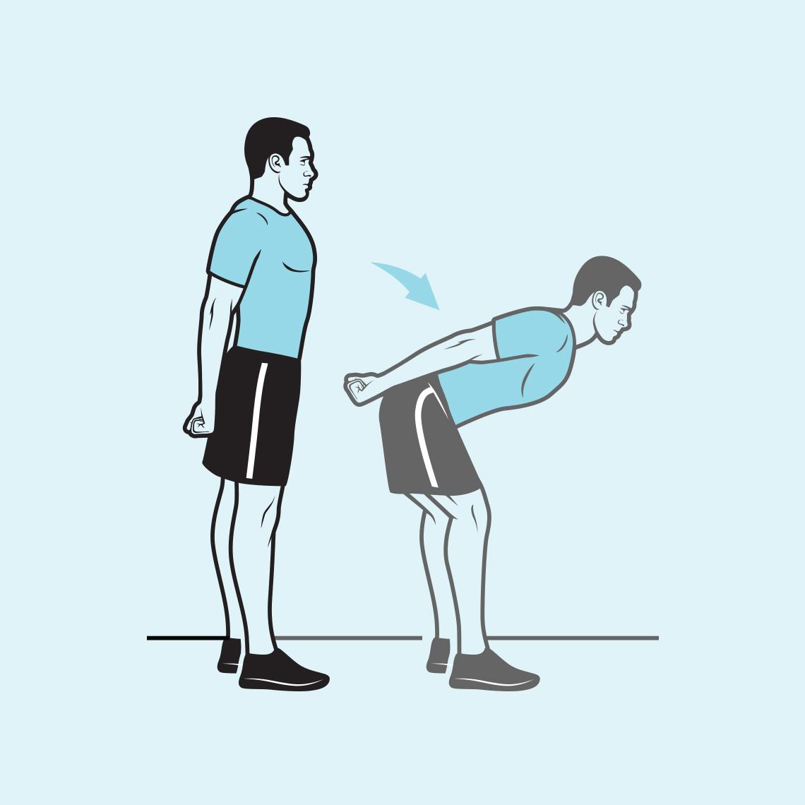 Man bending forward at hip