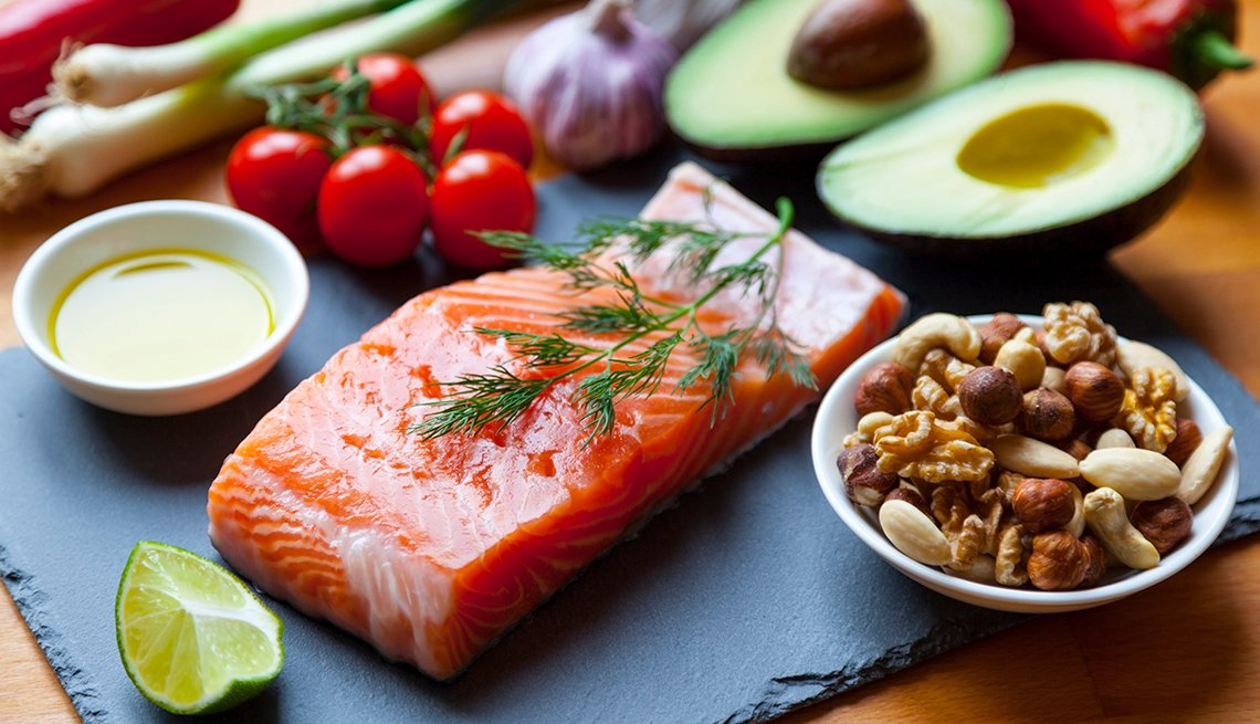 Mediterranean Diet of Fish, Nuts and Oil.
