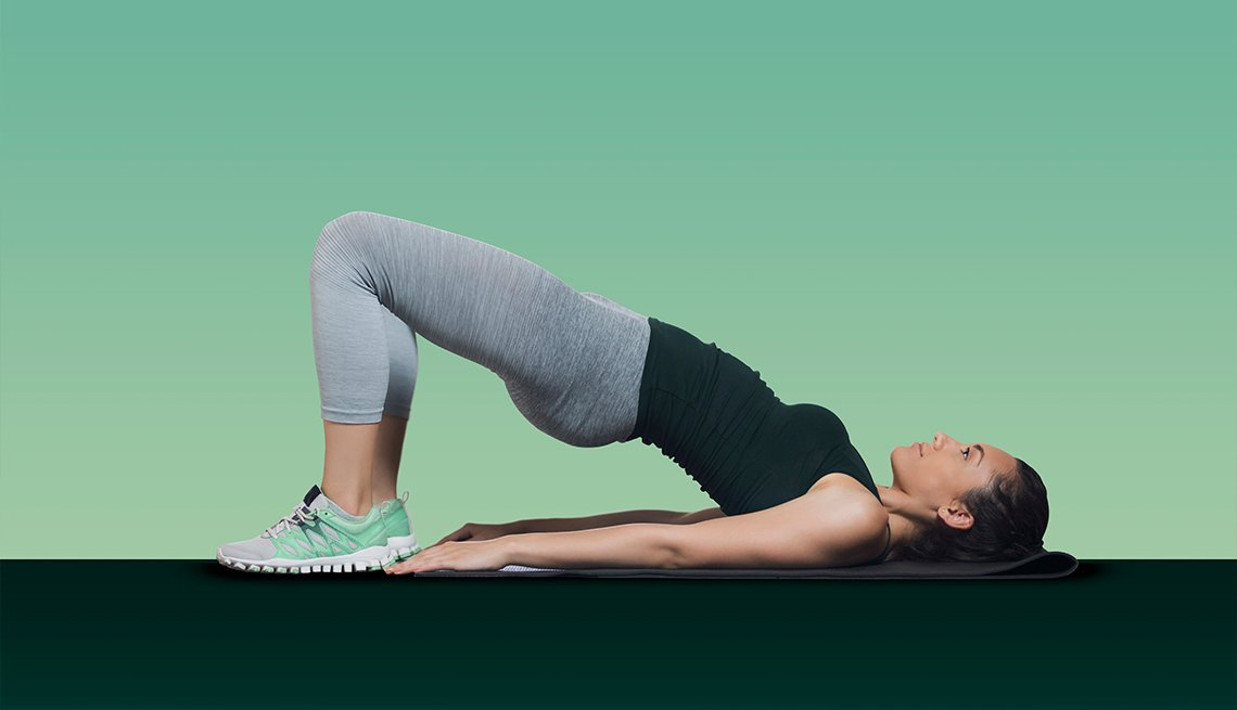 Woman doing a glute bridge exercise