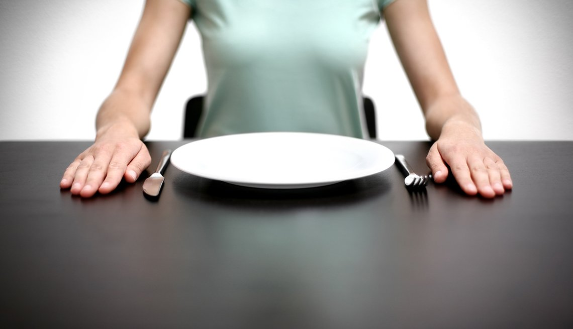 Woman sitting with empty plate