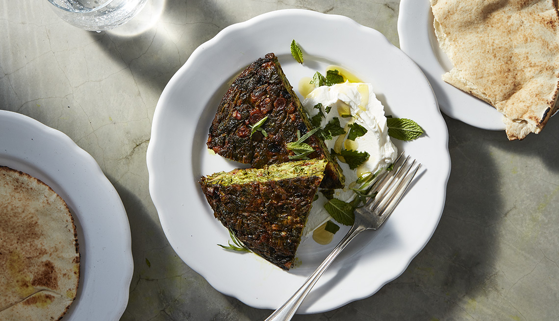 Middle Eastern Dish Called Koukou  (Persian herb frittata)