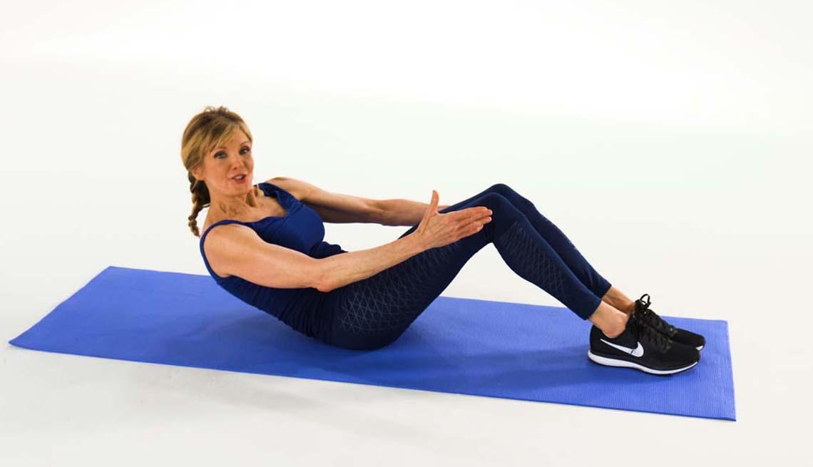 Kathy Smith on exercise mat