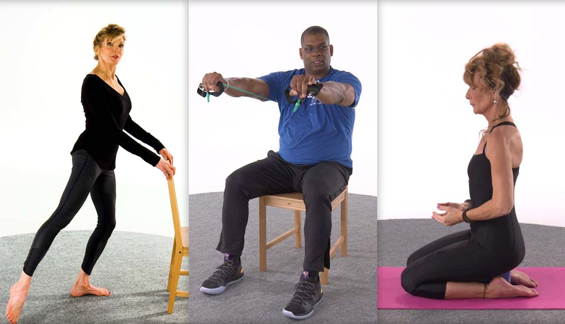 Three images of fitness experts