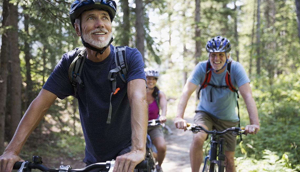 Group of people biking in woods