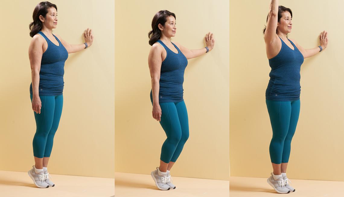 Knee bend with heel raises balance exercise