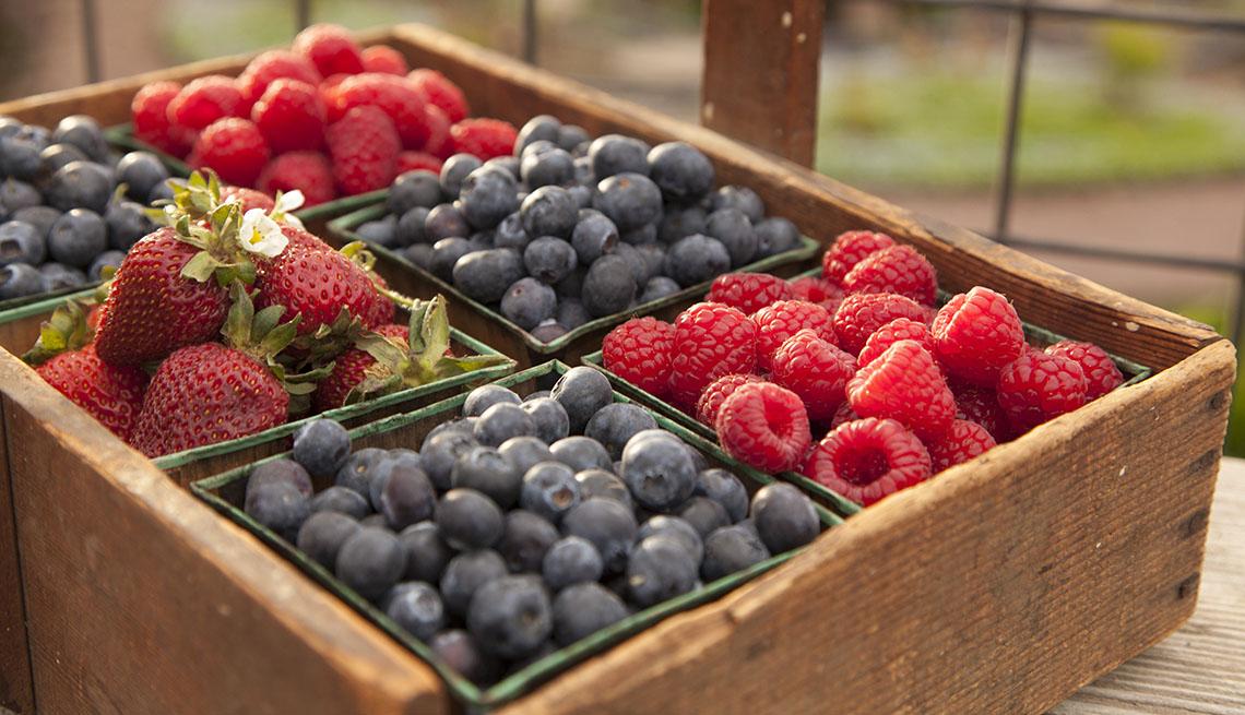 Fresas, arándanos y frambuesas