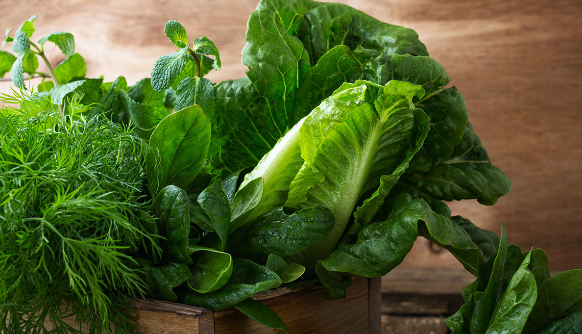 Leafy vegetables romaine lettuce spinach