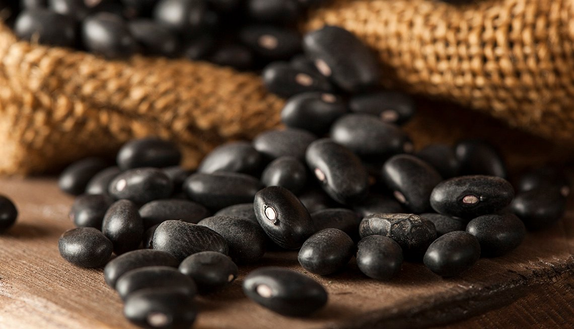 Organic black beans on a table