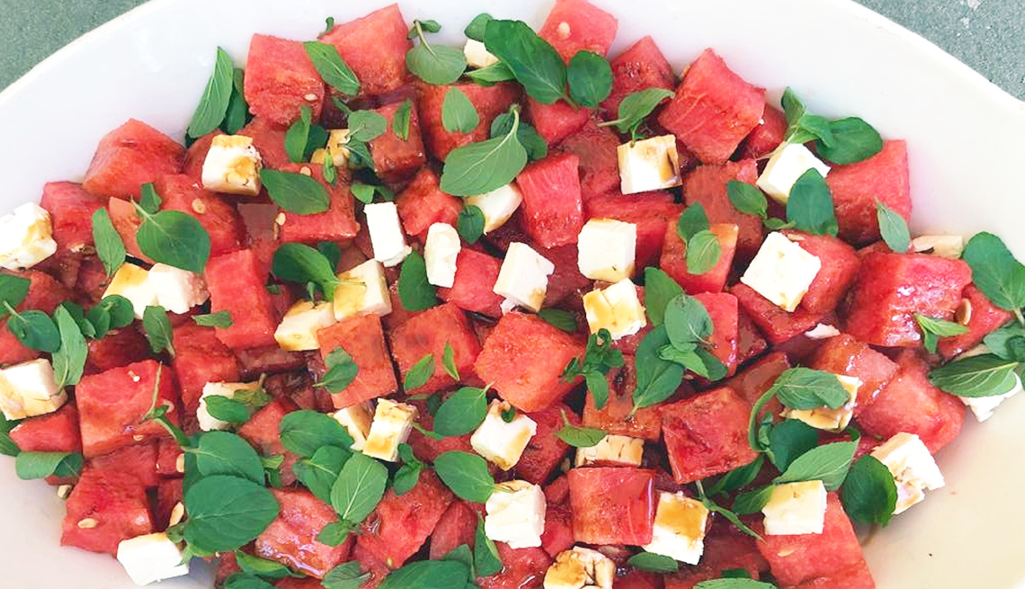 platter of watermelon feta salad with mint