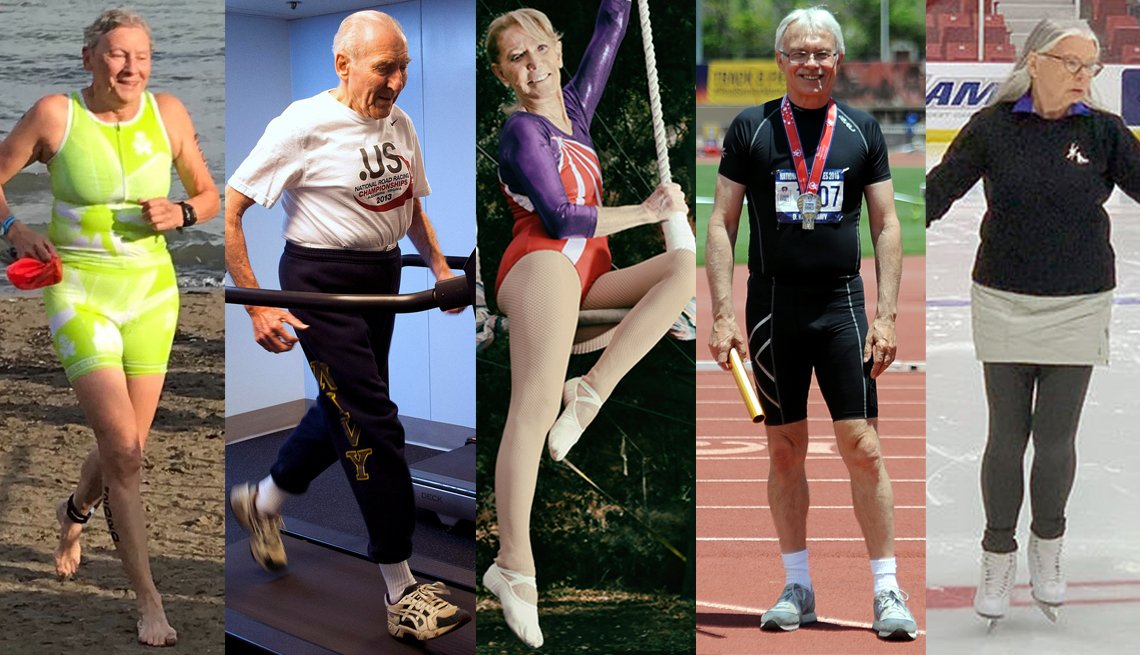 A side-by-side image of five athletes over the age of 60 that are excelling in their respective sports