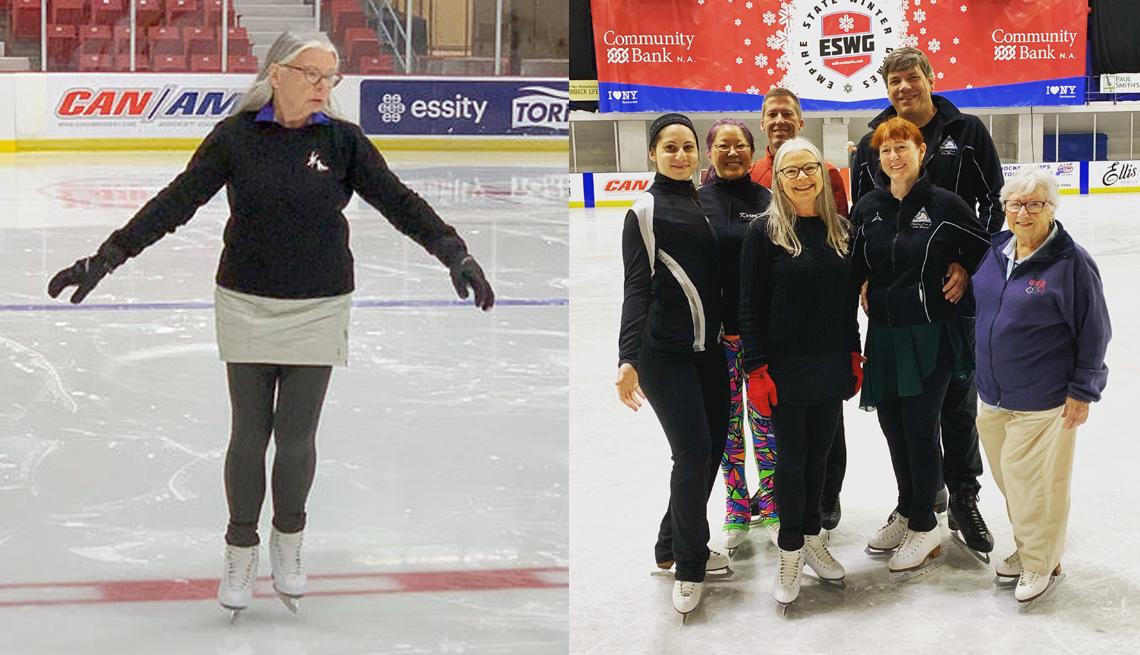 Nancy Cox practica patinaje sobre hielo