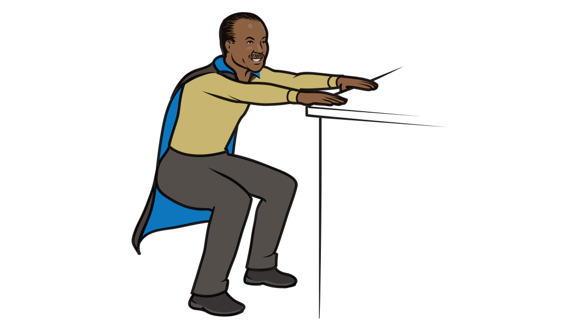 An illustration of actor Billy Dee Williams performing squats with the help of a countertop for balance