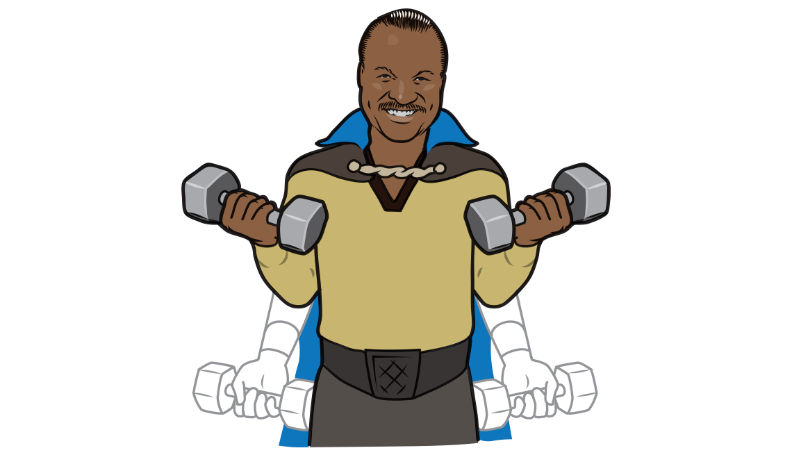 An illustration showing Billy Dee Williams doing bicep curls with dumbbells