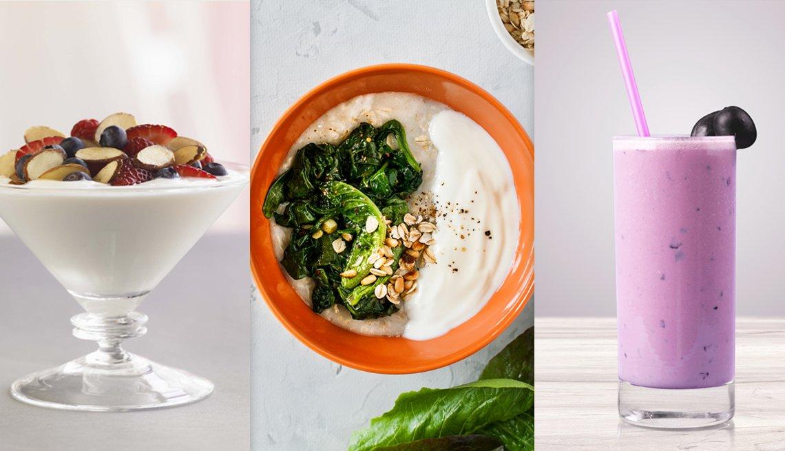 Tres fotos de comida, yogur, avena con yogur y un batido de frutas
