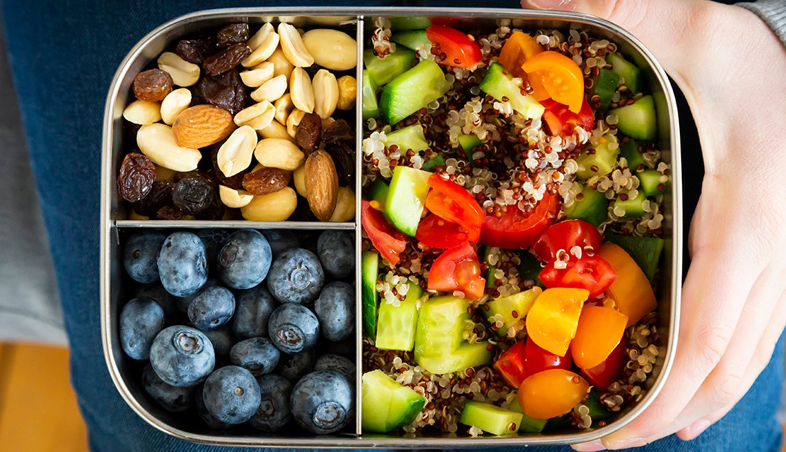 snackbox with quinoa salad, blue berry and trail mix