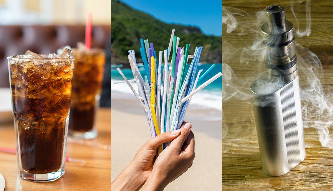 Una foto composición de un vaso con soda, pajitas y un cigarrillo electrónico