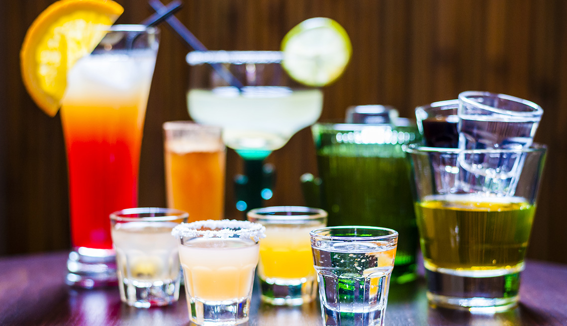 A variety of different alcoholic drinks