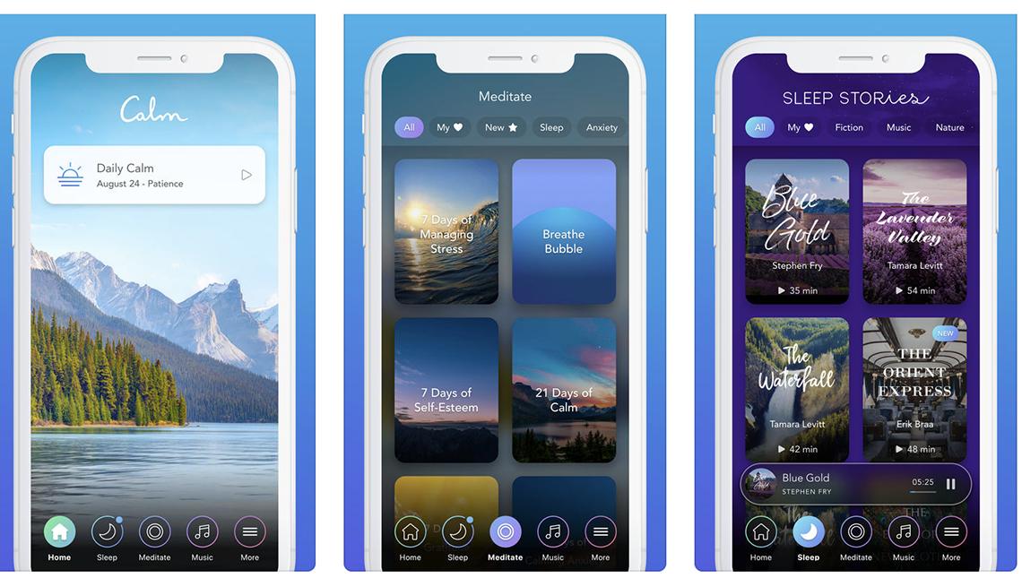 Varias capturas de pantalla de la aplicación Calm